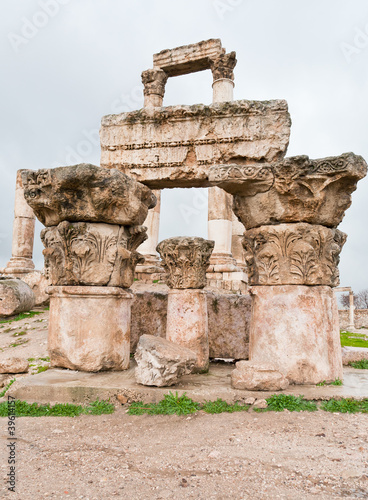 ruins of Temple of Hercules in antique citadel in Amman