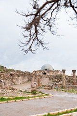 view on Umayyad palace  in antique citadel in Amman