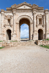 Arch of Hadrian in antique city of Gerasa Jerash in Jordan