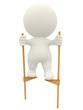 3D man walking on stilts