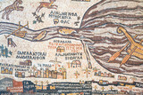 replica of antique Madaba map of Holy Land poster