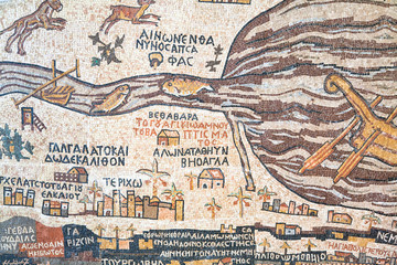 replica of antique Madaba map of Holy Land