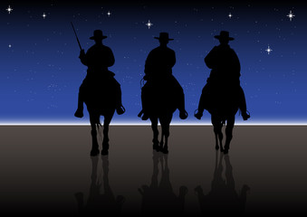 American Horse Rider at Night