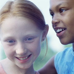 Close up portrait of two girls