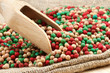 colorful peppercorns mix, wooden scoop