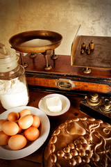 Vintage scales and ingredients