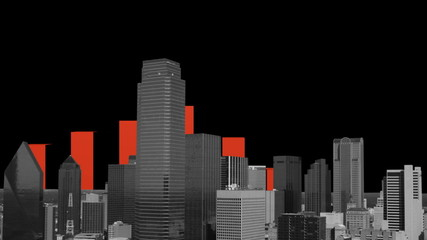 Dallas skyline with graph animation