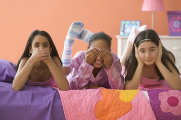 """""""Three girls posing with hands over mouth, eyes and ears"""""""