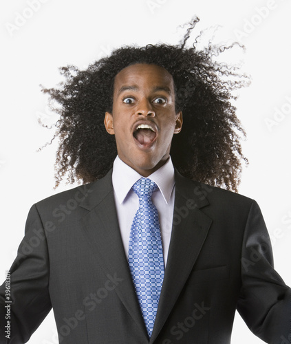 Portrait of businessman screaming