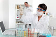 scientist making tests in a medical lab