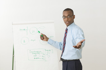 Portrait of male businessman giving presentation