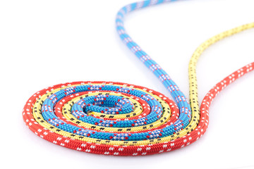 blue, yellow and red rope spiral