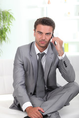 Businessman in waiting area