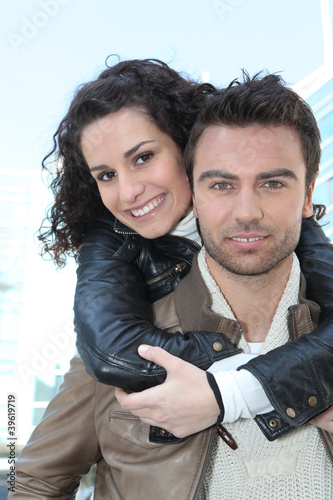 Young couple in leather jackets