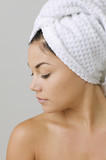 Woman wearing a towel on her hair