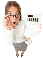 Business woman accountant shocked