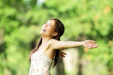 Happy woman in spring / summer