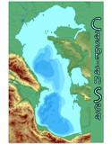 caspian, sea, europe, geography, water, lake poster