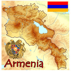 armenia europe map flag emblem