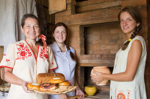 Women with country meal