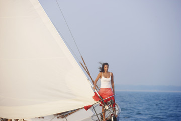 Woman on sailboat
