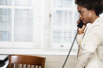 Woman speaking on phone