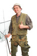 The fisherman with fishing rod and landing net.