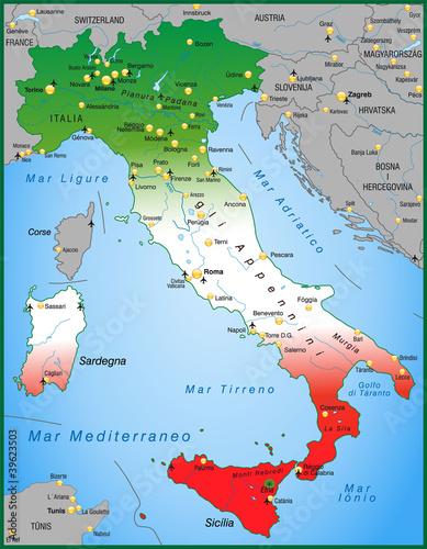 Poster Italien Italienisch Landkarte Globus Zentral Europa