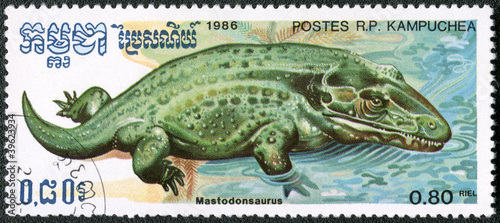 KAMPUCHEA - 1986: shows Mastodonsaurus, series devoted to prehis