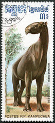 KAMPUCHEA - 1986: shows Indricotherium, series devoted to prehis