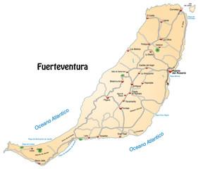 Autobahnkarte von Fuerteventura in orange