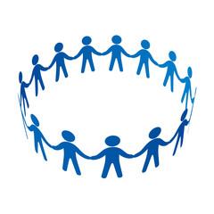 手をつなぎ円陣を組む人々
