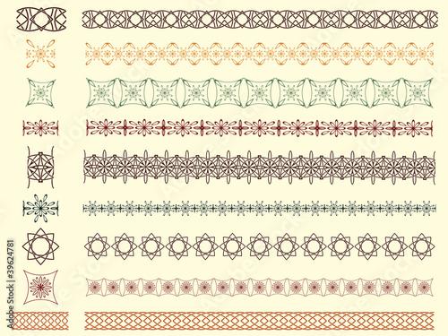 Fotobehang Kunstmatig set of nine vector seamless borders