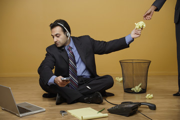 Businessman working without a desk
