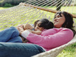 Mother and daughter relaxing in a hammock