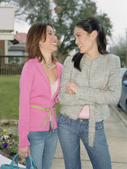 Young woman smiling at each other