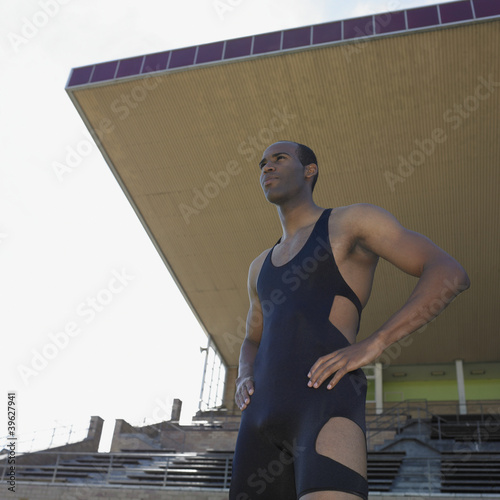 African male athlete at stadium