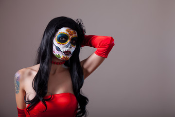 Sugar skull girl in red dress