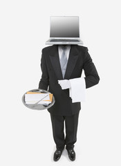 Butler with a laptop for a head holding a silver tray with mail