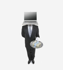 Butler with a laptop for a head holding a silver tray with bundles of money