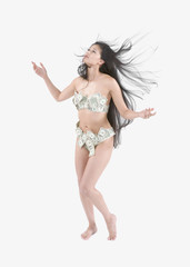 Young Asian woman wearing underwear made out of money