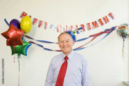 Senior businessman at his retirement party