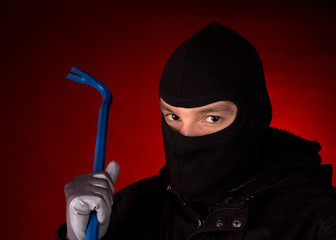 Burglar with black cowl