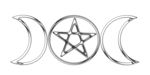 Metallic Wiccan Triple Goddess symbol