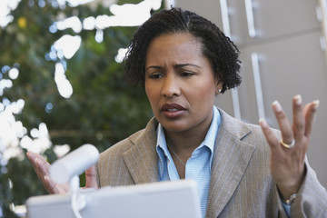 African American businesswoman with laptop