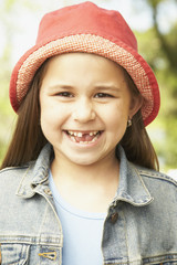 Close up of Hispanic girl smiling
