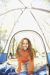 African American girl inside tent