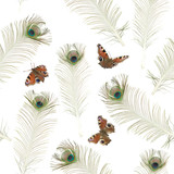Seamless peacock butterfly pattern