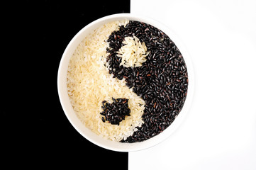 Black and white rice  yin yang symbol