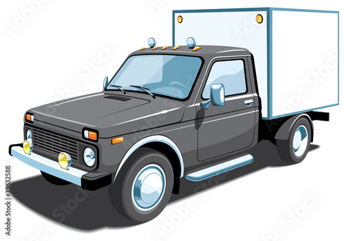 Vector isolated black delivery truck
